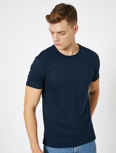 Koton Kisa Kollu Yuvarlak Yaka %100 Pamuk T-Shirt Lacivert
